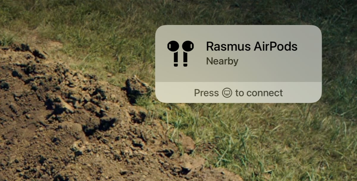 Notification of AirPods in Apple tv.