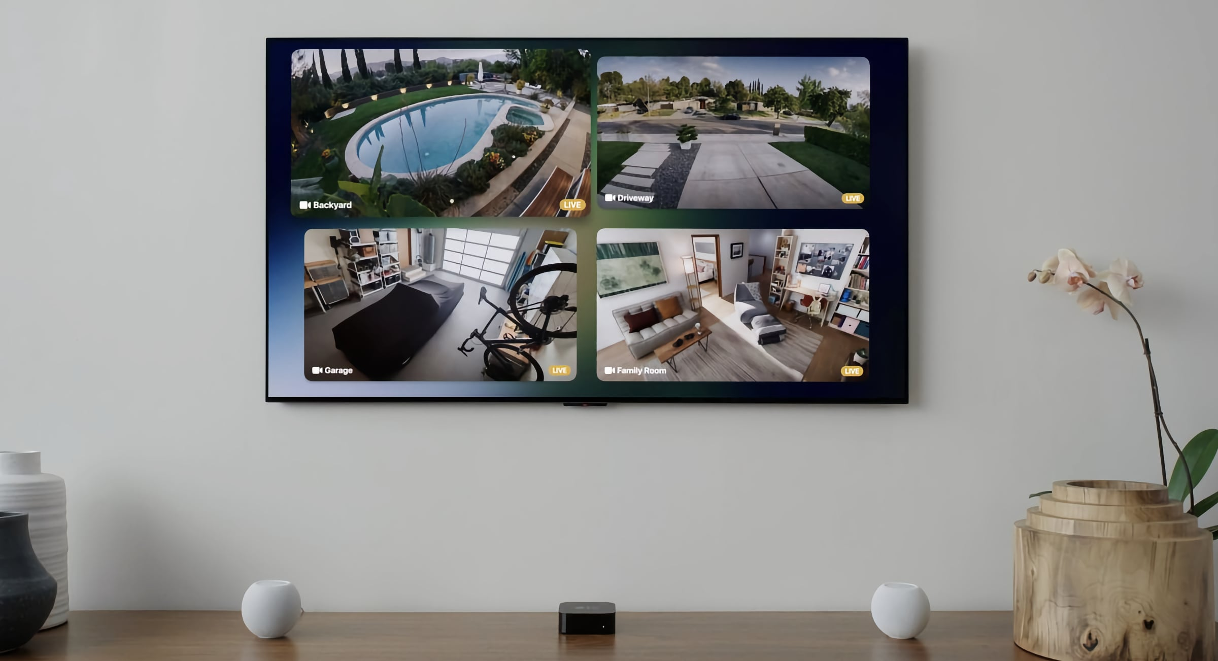 View multiple cameras from your Apple TV.